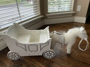 Pottery Barn Kids Royal Doll Carriage With Horse Wagon Pull Large Toy Wooden