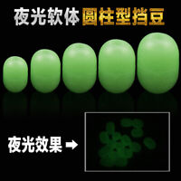 200pcs Glow Rubber Beads Green Oval Carp Fishing Floating Beads Terminal Tackle