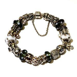 "Pandora 925 sterling silver 23 charm bracelet 90.1g vintage 8"" ladies"