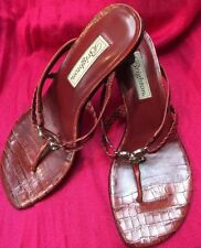 Red Leather Heel Sandals By Brighton