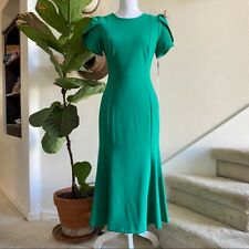 Calvin Klein S 6 Turquoise Green Midi Flounce dress Tulip Career Cocktail Madmen