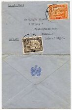 Aden a Isola di Wight GB... Royal mail Steam Packet BUSTA POSTA AEREA 8a + 2a