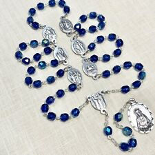 SEVEN SORROWS CHAPLET Prussian blue crystal rosary made-Poland Italian-parts 18""