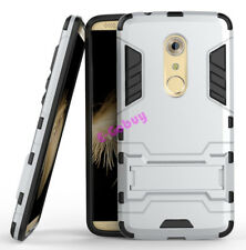 for ZTE Axon 7 Case Rugged Armor Shockproof Hybrid Kickstand Protective Cover Silver