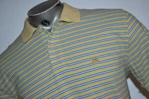 25938-a Mens Brooks Brothers Golf Polo Shirt Size Medium Yellow Blue Striped