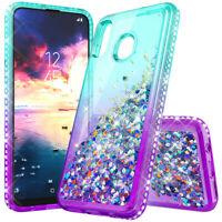 For Motorola Moto E7/E (2020) Case Liquid Glitter Bling Shockproof Phone Cover
