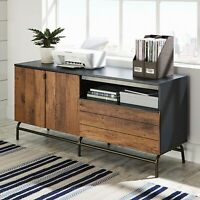"Rustic Industrial Wood Metal Console Sideboard 60"" TV Media Cabinet Oak Black"
