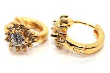 Gold Filled Clear Crystal Round Hoop Huggie Heart Earrings