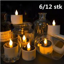 1-12PCS Yellow Solar Power LED Candles Flameless Electronic Solar LED Tea Lights