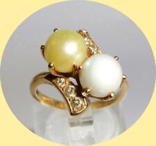 Elegant 14kt Yellow Gold Pearl & Diamond Ring