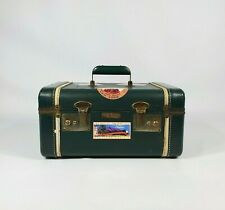 Vintage Antique Green Train Travel Case w Labels 1940s Suitcase Luggage