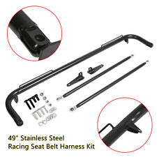 Stainless Steel Racing Safety Seat Belt Chassis Roll Harness Bar Kit Rod Black Fits Toyota