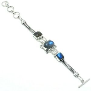 LOVELY BLUE LABRADORITE STERLING BRACELET 7-8inch