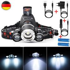 20000LM LED Stirnlampe XM-L T6 Kopflampe 2X Akku 18650 Ladegerä Kfz-Ladegerät DE