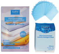 24 Sheets ECOPRO Portable Travel Pack Laundry Detergent Sheets
