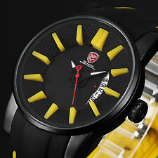 Shark Mens Sport Date Black Silicone Quartz Luxury Wrist Watch Black Yellow+Box