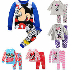 Kids Toddler Boy Girl Mickey Minnie Mouse Sleepwear Nightwear Pajamas Pjs Sets