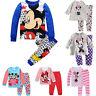 Kids Girls Clothing Mickey Minnie Mouse Sleepwear Nightwear Pyjamas Outfit Set