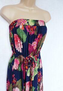 BNWT NEXT Bandeau summer tie waist navy bold print floral soft maxi dress 16/18