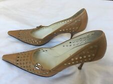 PRADA Pumps Shoes Vero Cuoio Square Toe 36.5 Mustard