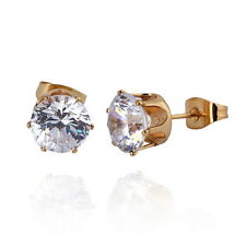 1 Pair NEW Fashion White Zircon 18K Gold Plated Stud Earrings