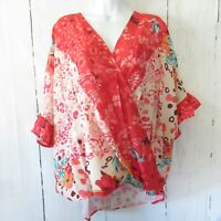 New Umgee Top 2X Coral Floral Animal Ruffle Sleeve Boho Peasant Plus Size