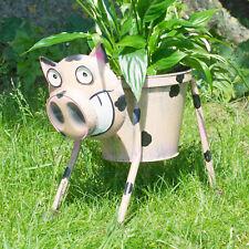 Nodding Pig Planter Metal Garden Ornament Plant Pot Decorative Statue Sculpture