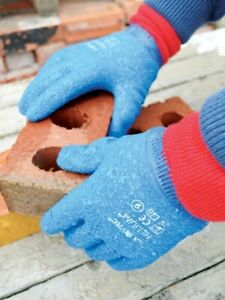 SKYTEC HELIUM™ Blue Grip Rubber Crinkle Work Wear Safety Glove Size 8/M