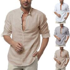Men's Linen Long Sleeve Shirt V-Neck Collarless V-neck Beach Causal Blouse Tops