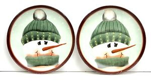 2X Vintage Nantucket Fiddlestix Holiday Hand Painted Snowman Lunch Plates