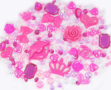 Fiery Fuchsia Sparkle Cabochon Rhinestone Pearl Set Kit DIY Decoden Kawaii Craft