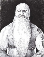 BEAR MALE NUDE PORTRAIT TATTOOS MUSCLE HAIRY MAN ART DRAWING GAY painting