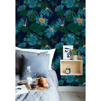 Tropical flowers Removable wallpaper blue and green Home Decor