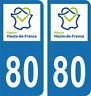 Département 80 -2 autocollants style immatriculation AUTO PLAQUE HAUTS DE FRANCE