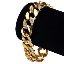 Miami Cuban Link Chains Bracelets Bangle Fashion Men 24K Solid Gold Plated
