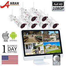 "Home Wireless Security Camera System Outdoor 1080P 8Ch Nvr 1Tb With 15""Monitor"
