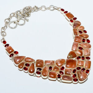 "Golden Sunstone & Garnet 925 Sterling Silver Necklace Jewelry 17.99"" T8661"