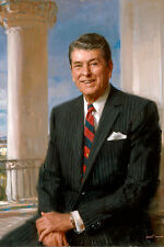 "US President Ronald Reagan Portrait Painting Large 12""x18"" Real Canvas Art Print"