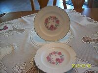 National China Co.Sebring, Ohio Vintage Floral Krest Pattern Set of 2 Plates