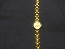 "Vintage Lorus  Mickey Mouse Face & Band Gold Tone  Ladies Quartz Watch 7 3/4"""