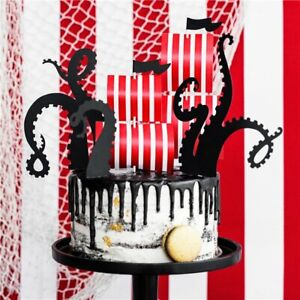 Name and Age Glitter Pirate Ship Cake Topper Party Birthday Celebration