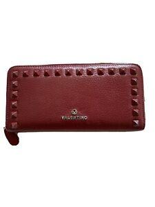 Auth VALENTINO GARAVANI Rockstud wallet Zip Around Long Wallet Red