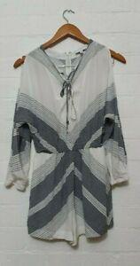 WITCHERY Label Womens Blue White Short Cold Shoulder Playsuit Jumpsuit, Size 4