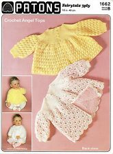 """Patons 1662 Stunning Baby Crochet/Knitting Pattern 18"""" 3/6 months 3ply Angel Top"""