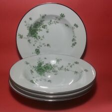 "Noritake Ireland Tipperary Soup Plate 9"" Diameter Silver Trim, Lot of 4"
