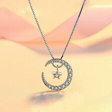 REAL SOLID SILVER 925 Classic Sterling Silver Necklace & Pendant  Moon-Star 025