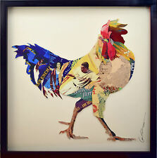 Handarbeit 3D Collage Kunst Frame Art Wand Bild Huhn Gockel Lein Frühstück Küche