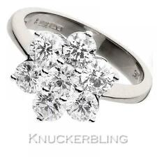 Diamond Daisy Engagement Ring 2.00ct Certified F VS Brilliant in 18ct White Gold