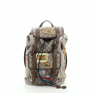 Gucci Courrier Soft Backpack GG Coated Canvas with Applique Large