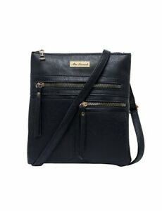 Miss Serenade Kira Vegan Leather Cross Body  Bag Black XB-9100 Blk
